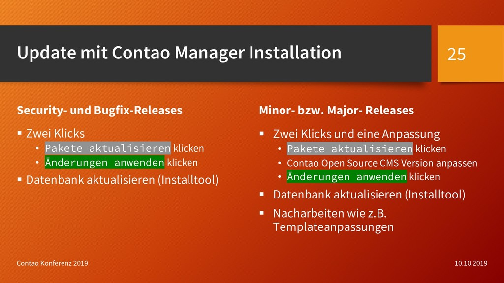 Update mit Contao Manager Installation Security...