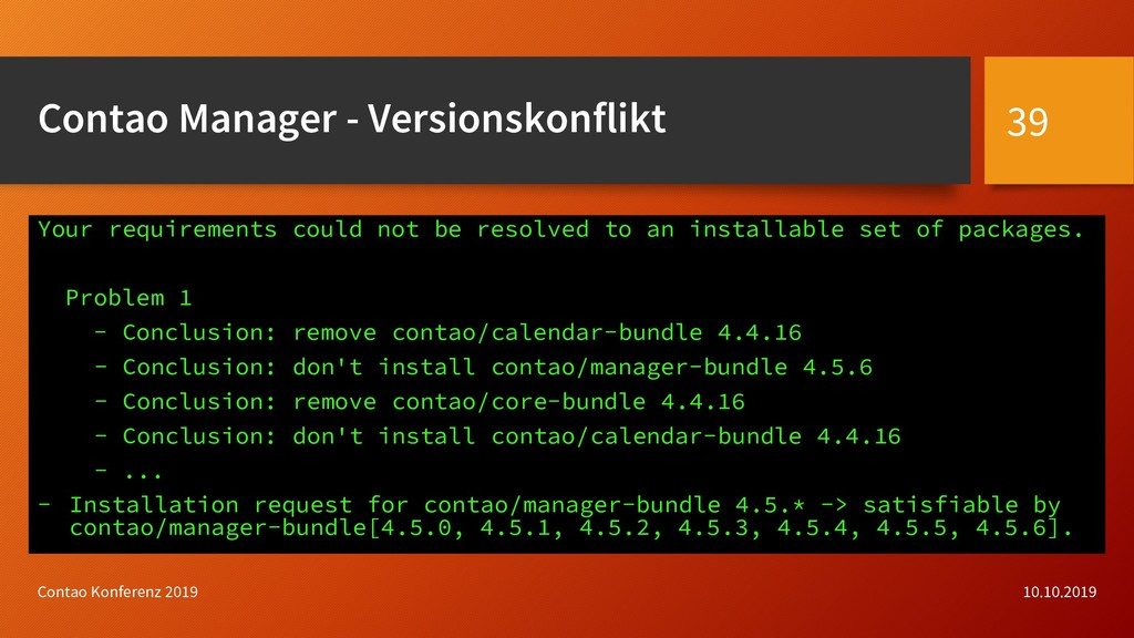 Contao Manager - Versionskonflikt 10.10.2019 Co...