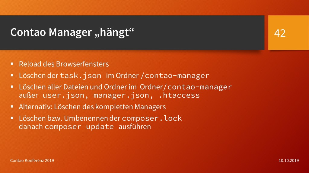 "Contao Manager ""hängt""  Reload des Browserfens..."