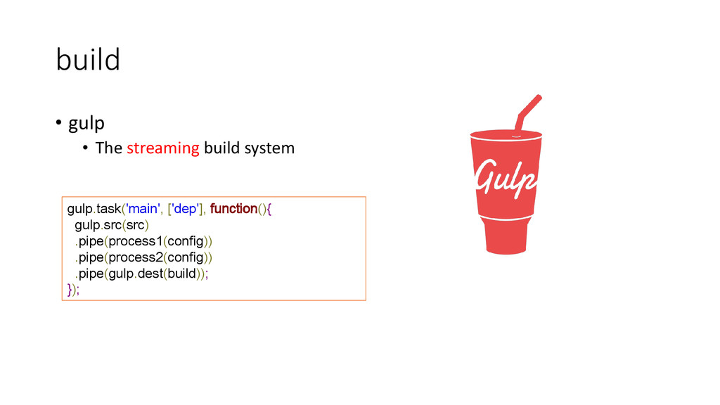 build • gulp • The streaming build system gulp....