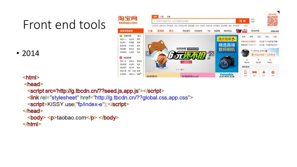Front end tools • 2014 <html> <head> <script sr...