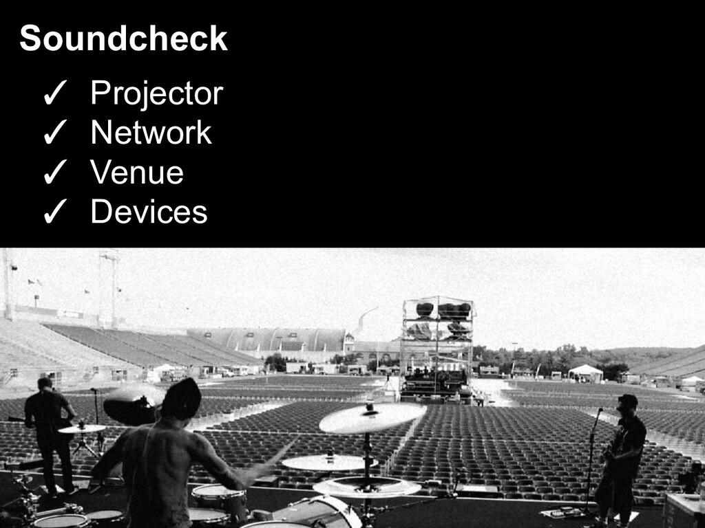 Soundcheck ✓ Projector ✓ Network ✓ Venue ✓ Devi...