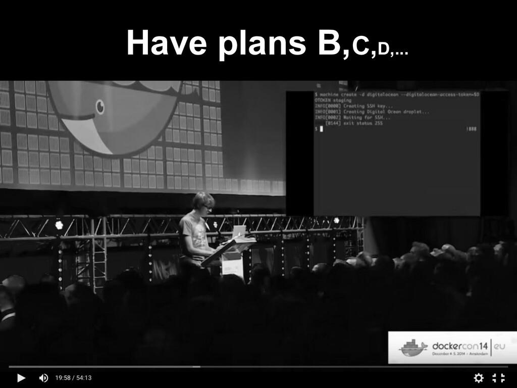 Have plans B,C,D,...