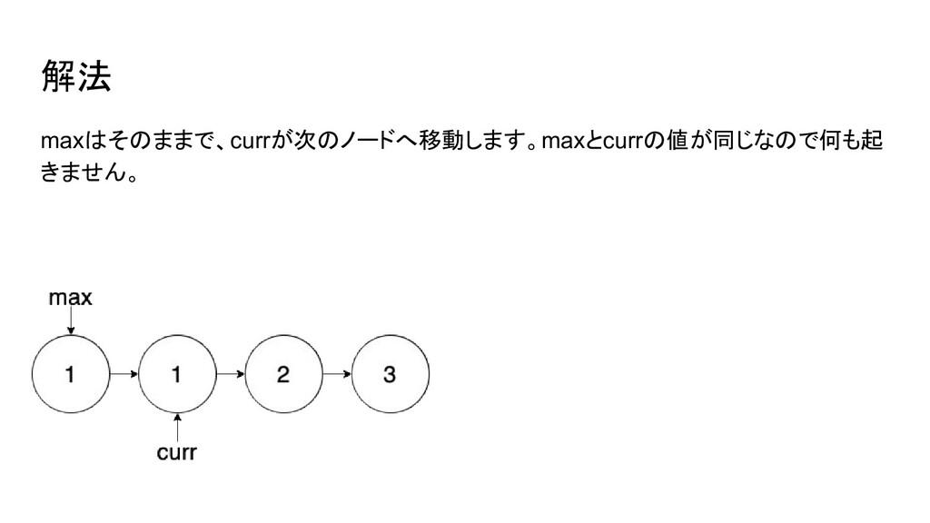 maxはそのままで、currが次のノードへ移動します。maxとcurrの値が同じなので何も起 ...