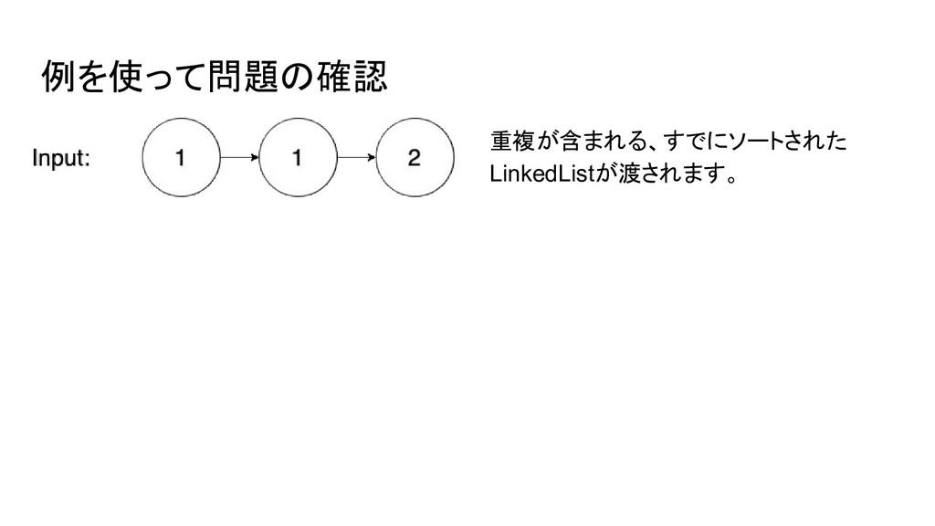 例を使って問題の確認 重複が含まれる、すでにソートされた LinkedListが渡されます。