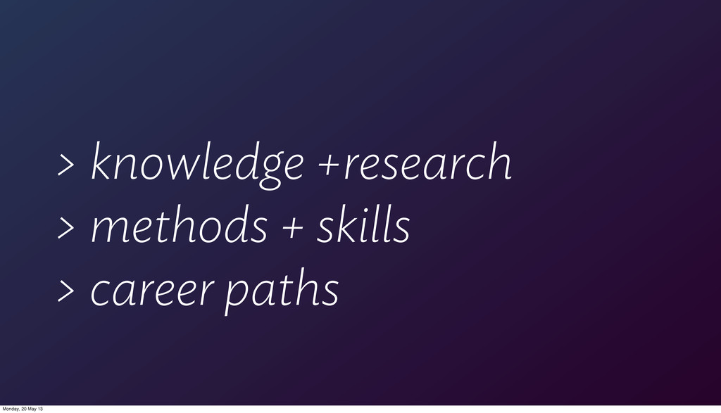 > knowledge +research > methods + skills > care...