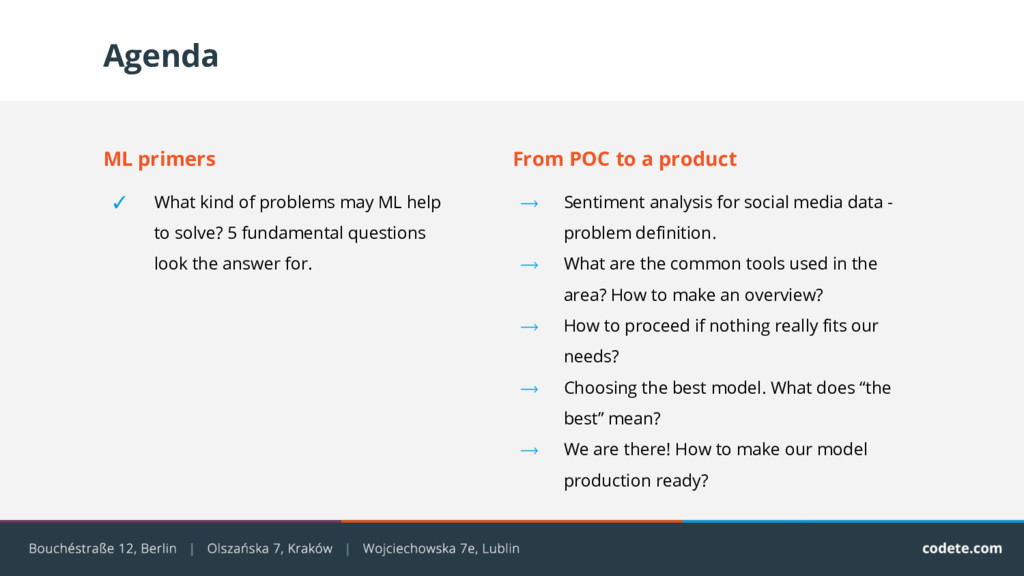 Agenda From POC to a product ⟶ Sentiment analys...