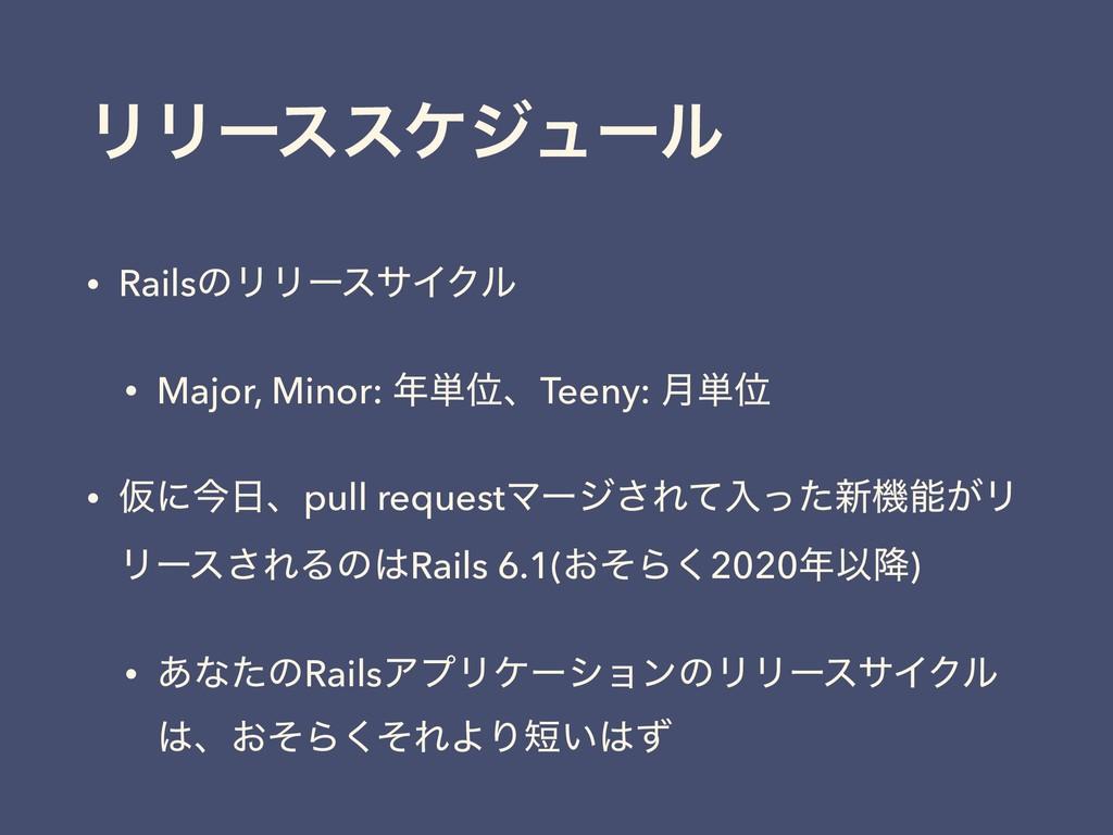 ϦϦʔεεέδϡʔϧ • RailsͷϦϦʔεαΠΫϧ • Major, Minor: ୯Ґ...