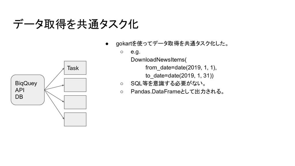 データ取得を共通タスク化 ● gokartを使ってデータ取得を共通タスク化した。 ○ e.g....