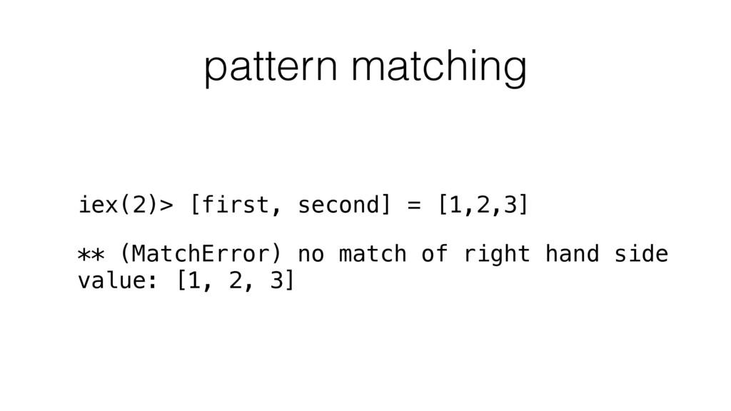 pattern matching iex(2)> [first, second] = [1,2...