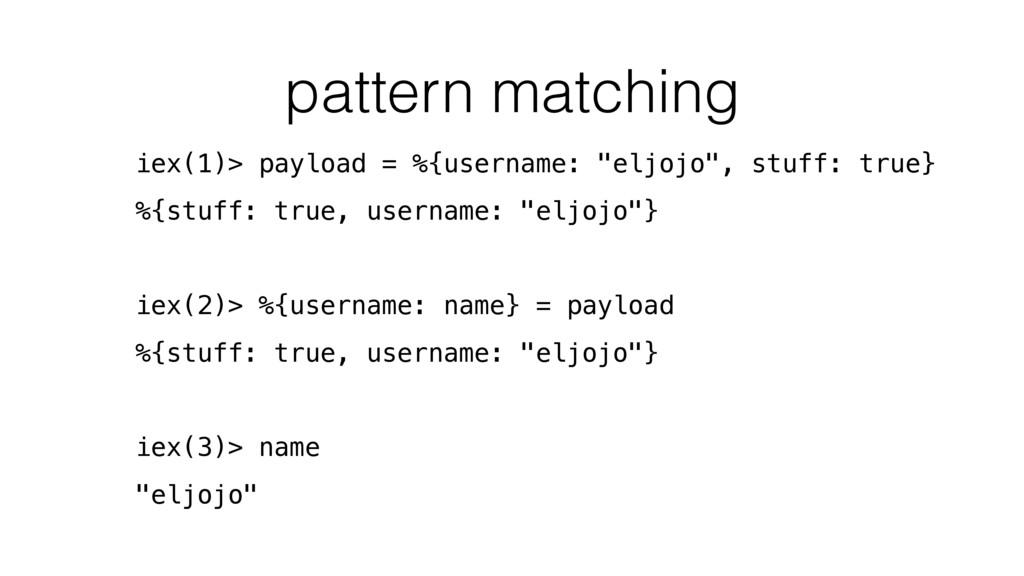 pattern matching iex(1)> payload = %{username: ...