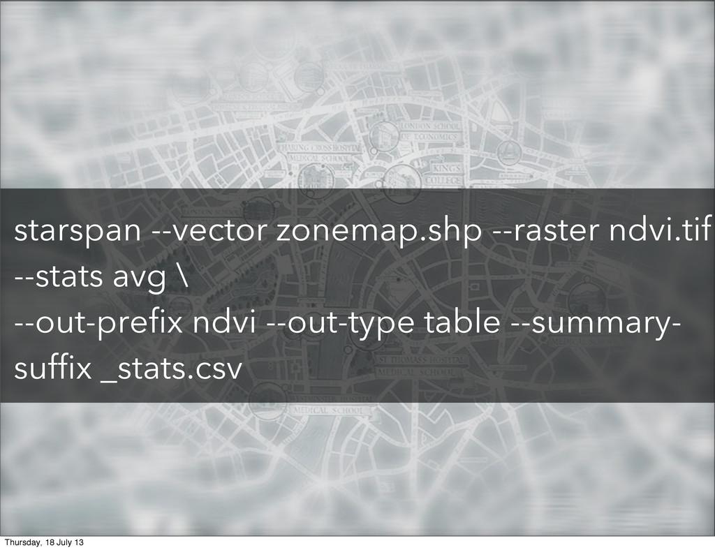 starspan --vector zonemap.shp --raster ndvi.tif...