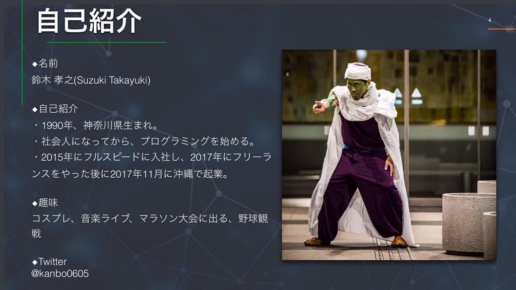 4 ࣗݾհ ◆໊લ ླ ೭(Suzuki Takayuki) ◆ࣗݾհ ɾ1990ɺ...