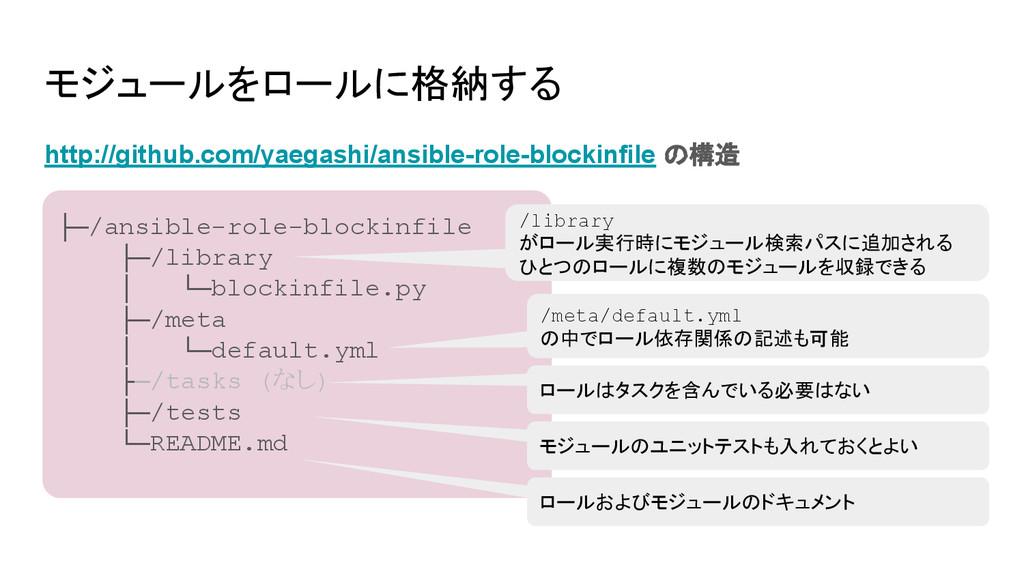 モジュールをロールに格納する http://github.com/yaegashi/ansib...