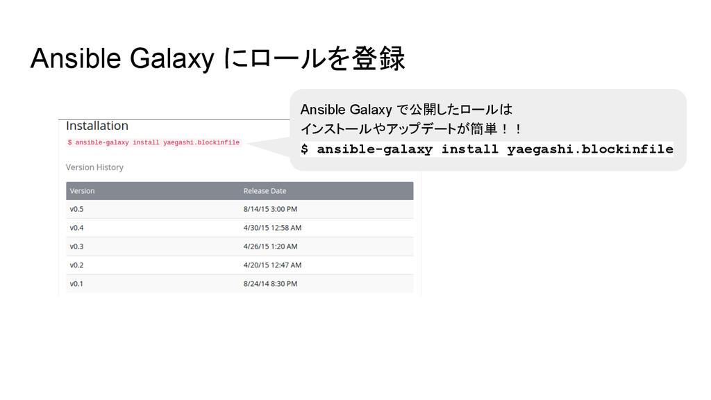 Ansible Galaxy にロールを登録 Ansible Galaxy で公開したロールは...