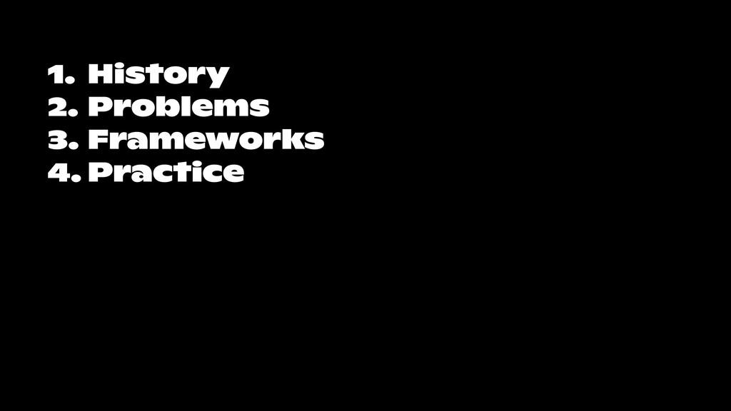 1. History 2. Problems 3. Frameworks 4. Practice