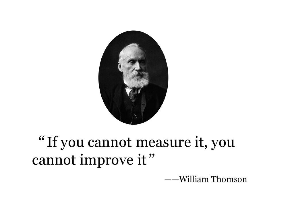 """""""If you cannot measure it, you cannot improve i..."""