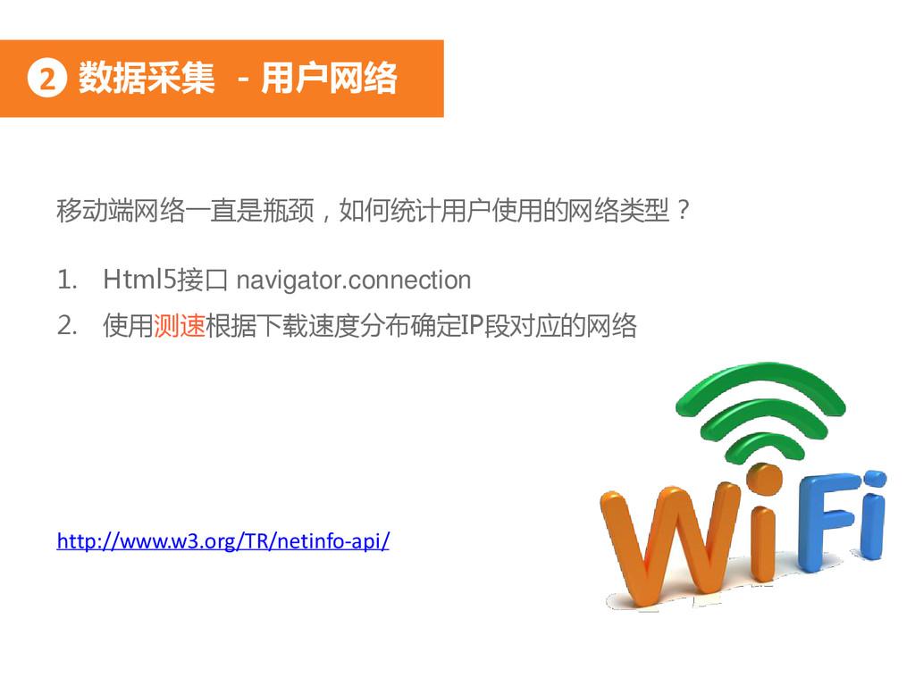 数据采集 - 用户网络 2 移动端网络一直是瓶颈,如何统计用户使用的网络类型? 1. Html...