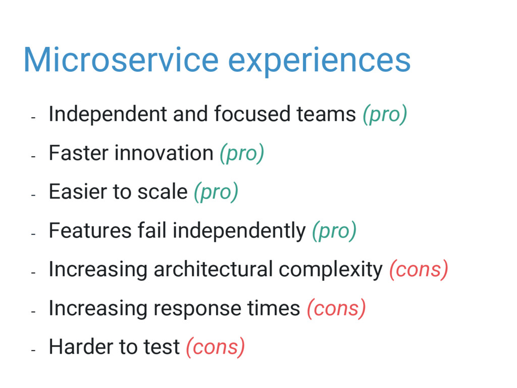 Microservice experiences - Independent and focu...