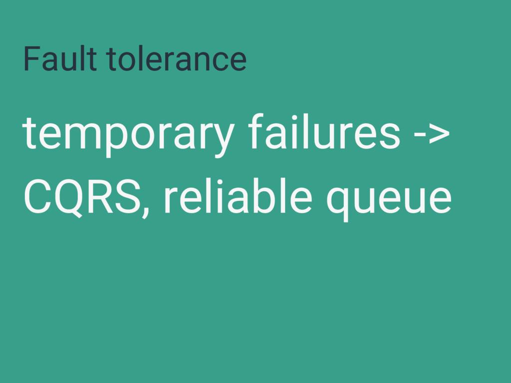 Fault tolerance temporary failures -> CQRS, rel...