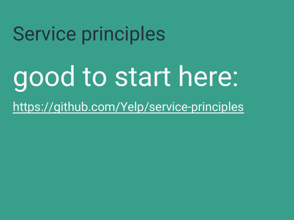Service principles good to start here: https://...