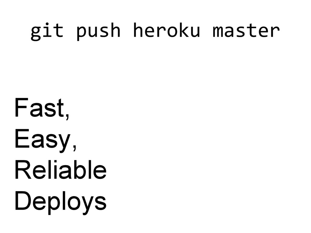 git push heroku master Fast, Easy, Reliable Dep...