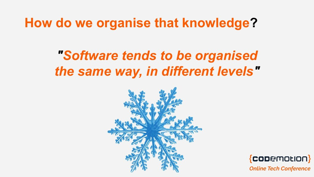 "How do we organise that knowledge? ""Software te..."