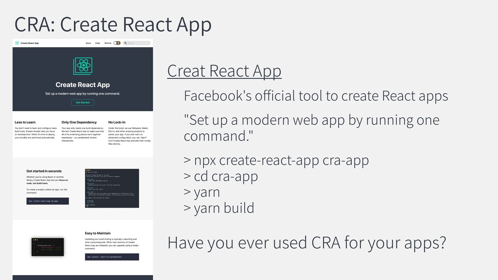 CRA: Create React App Creat React App Facebook'...