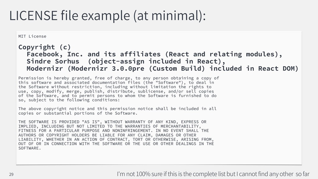 LICENSE le example (at minimal): MIT License Co...
