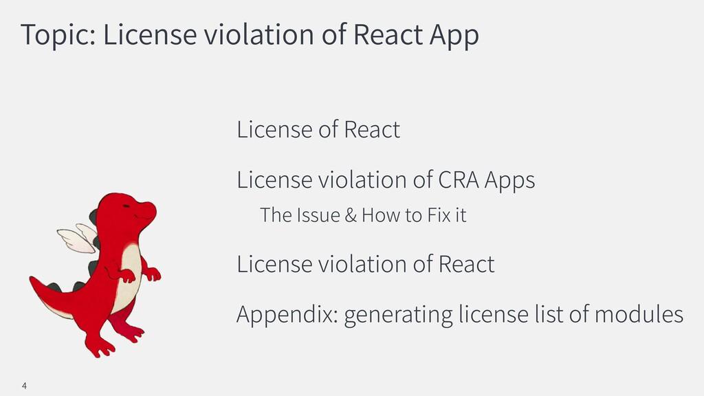Topic: License violation of React App License o...