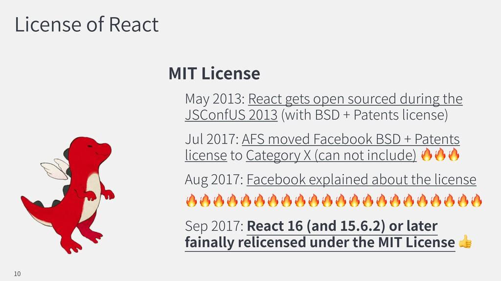 License of React MIT License May 2013: React ge...
