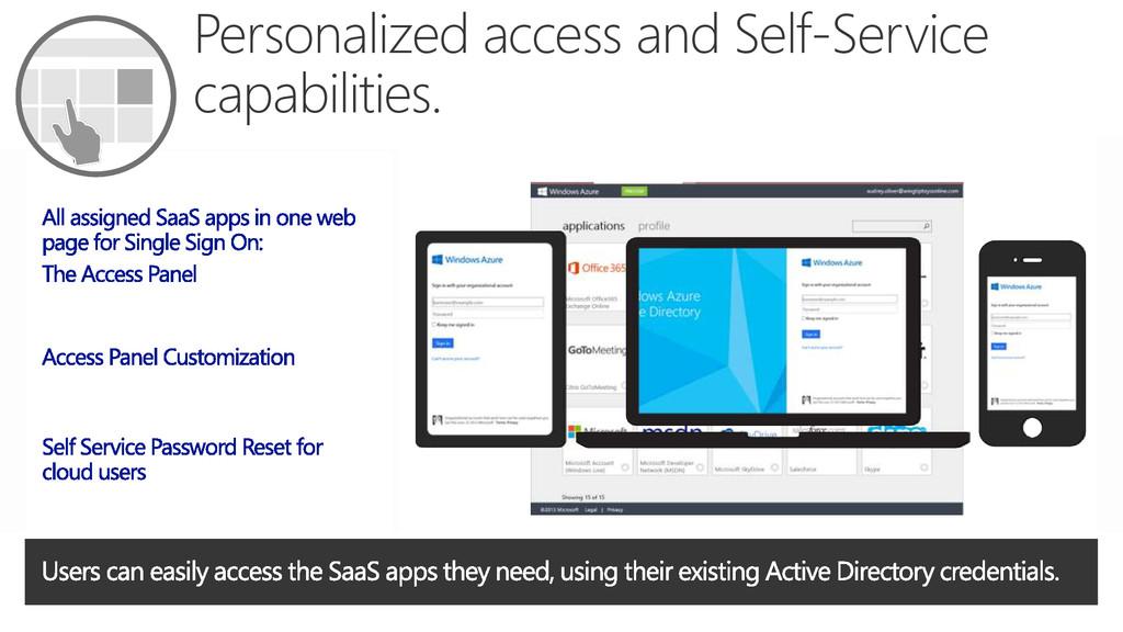 Personalized access and Self-Service capabiliti...