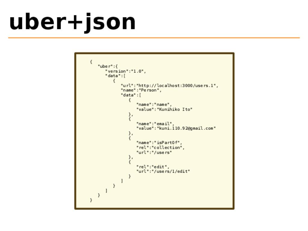 "uber+json { ""uber"":{ ""version"":""1.0"", ""data"":[ ..."
