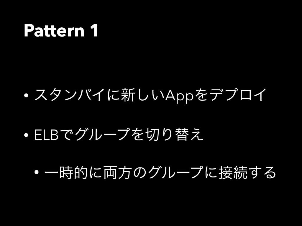 Pattern 1 • ελϯόΠʹ৽͍͠AppΛσϓϩΠ • ELBͰάϧʔϓΛΓସ͑ •...