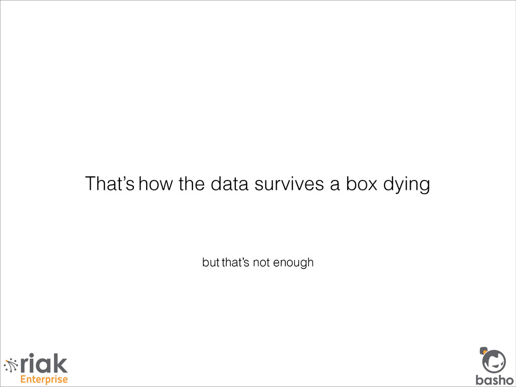 but that's not enough That's how the data survi...