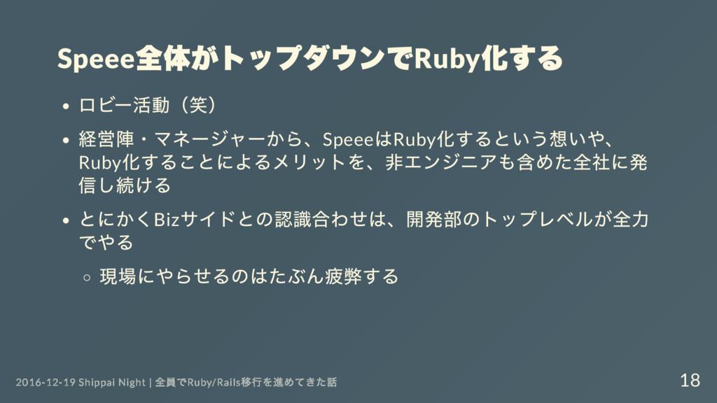 Speee 全体がトップダウンでRuby 化する ロビー 活動( 笑) 経営陣・ マネー ジャ...