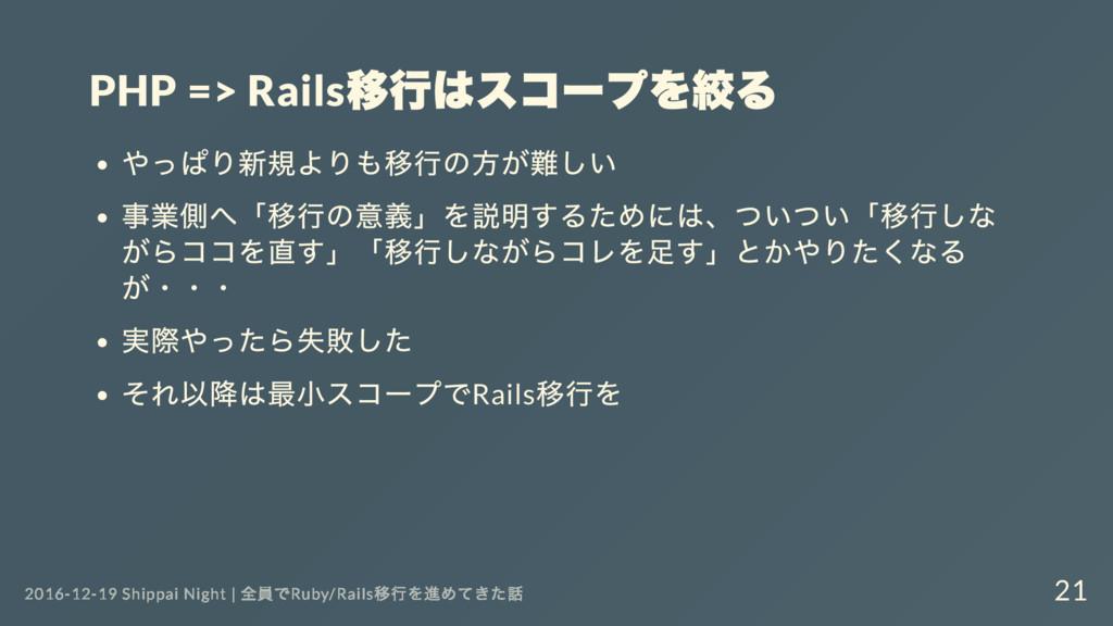 PHP => Rails 移行はスコー プを絞る やっぱり新規よりも移行の方が難しい 事業側へ...