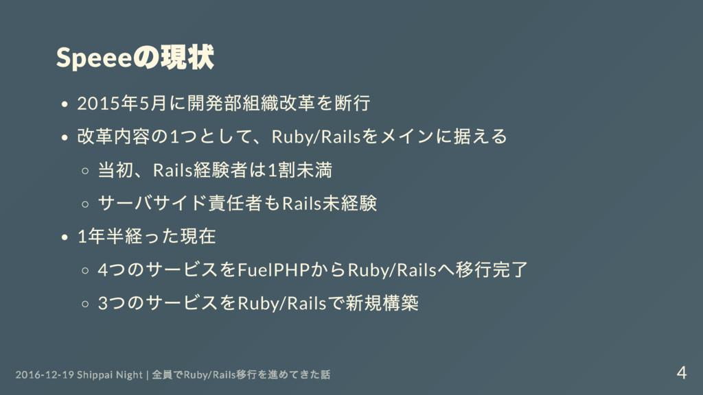 Speee の現状 2015 年5 月に開発部組織改革を断行 改革内容の1 つとして、Ruby...