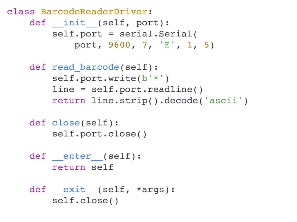 class BarcodeReaderDriver: def __init__(self, p...