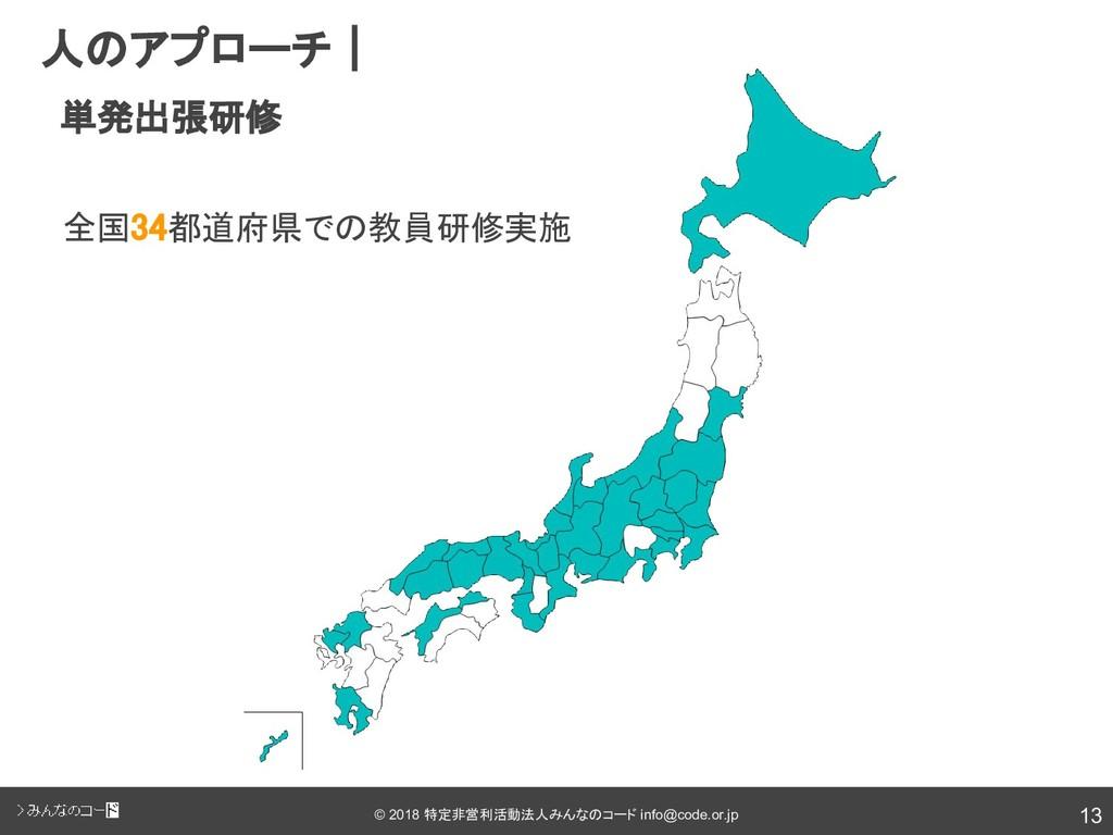 13 © 2018 特定非営利活動法人みんなのコード info@code.or.jp  人のア...