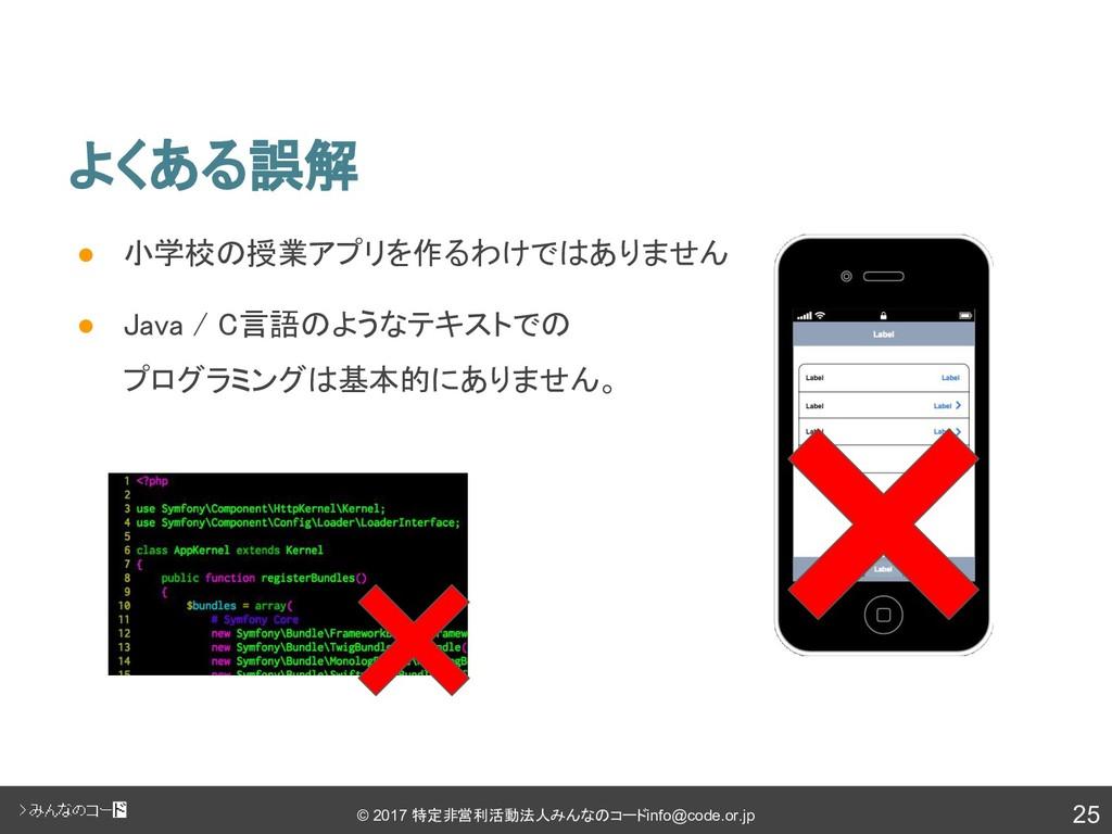 25 © 2017 特定非営利活動法人みんなのコード info@code.or.jp よくある...