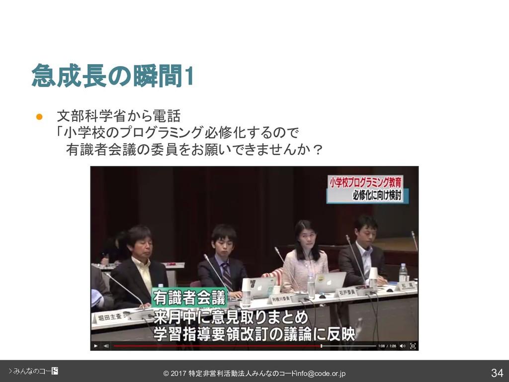34 © 2017 特定非営利活動法人みんなのコード info@code.or.jp 急成長の...