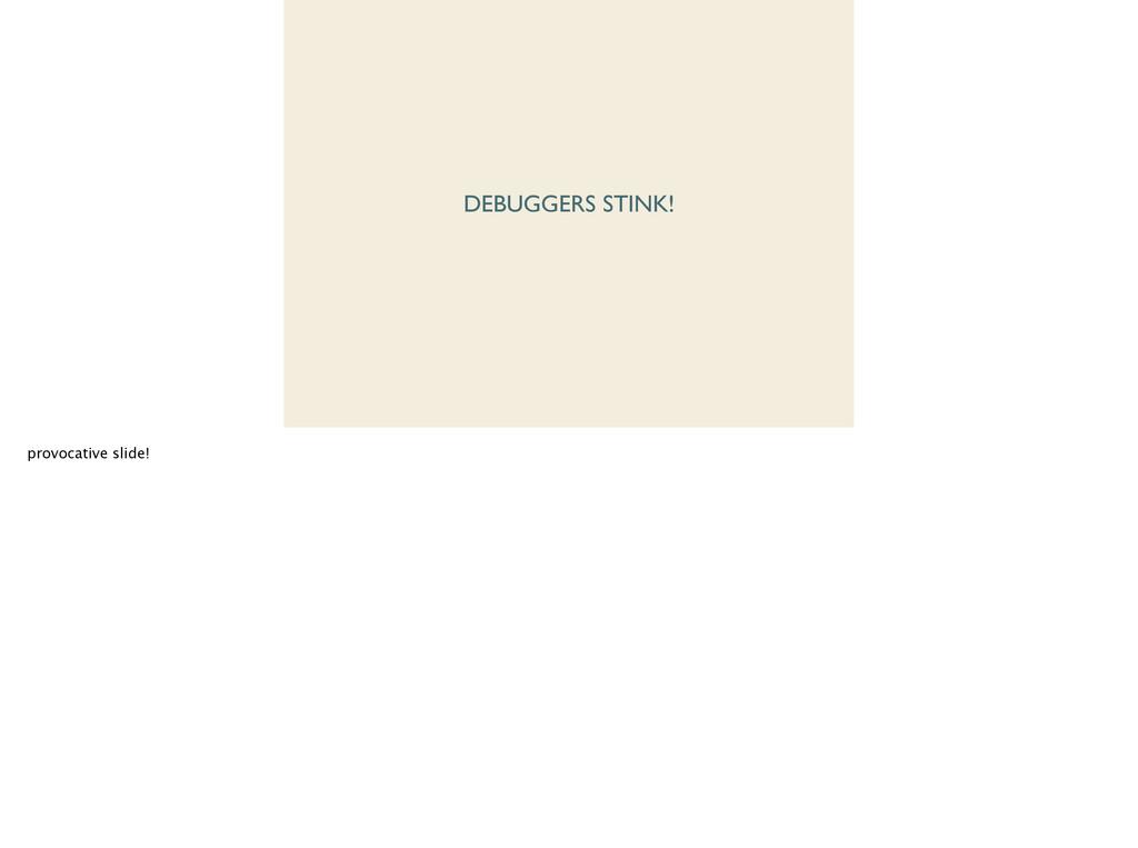 DEBUGGERS STINK! provocative slide!