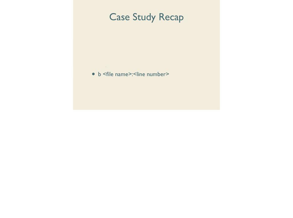 Case Study Recap • debugger  • disp[lay]  •...