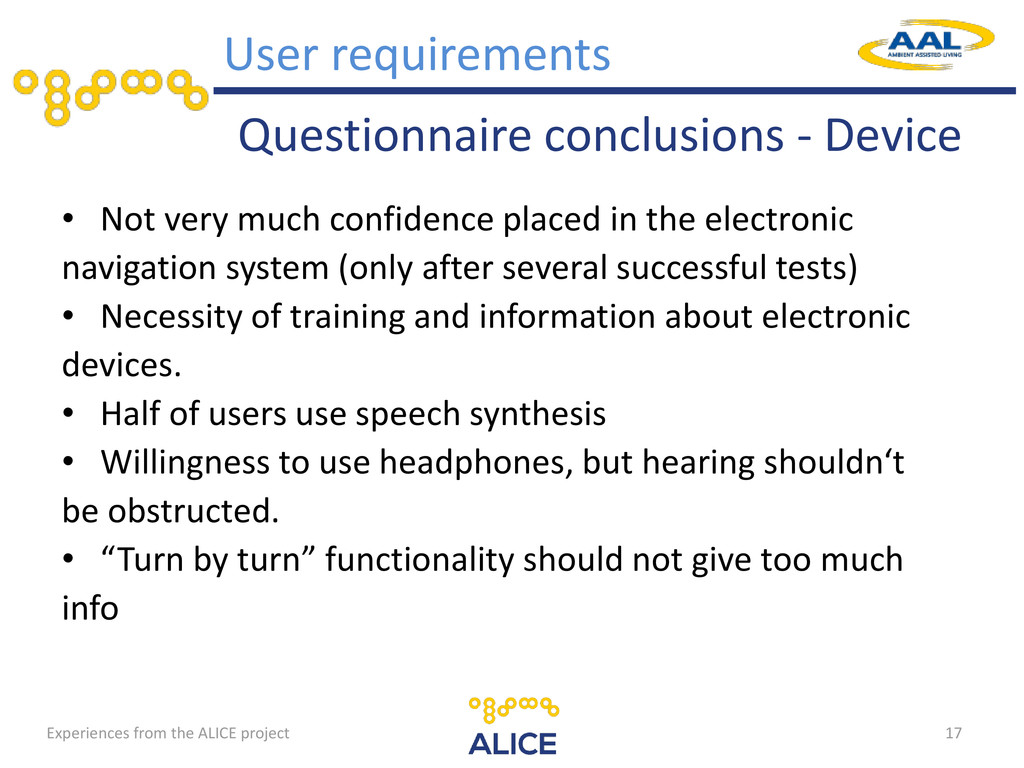 Questionnaire conclusions - Device • Not very m...