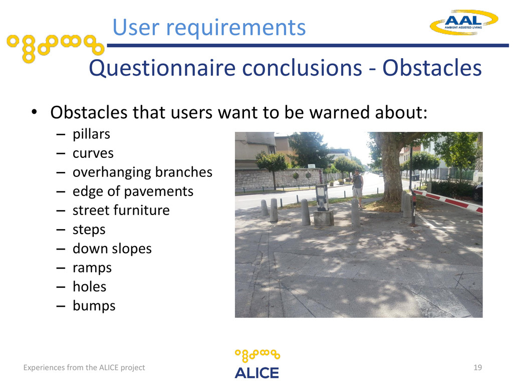 Questionnaire conclusions - Obstacles • Obstacl...
