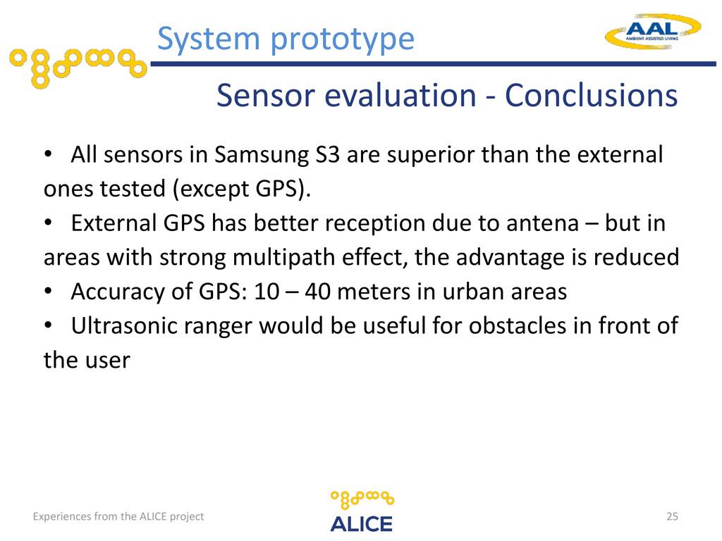 Sensor evaluation - Conclusions • All sensors i...