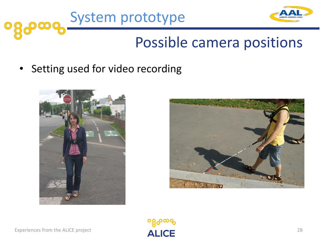 Possible camera positions • Setting used for vi...