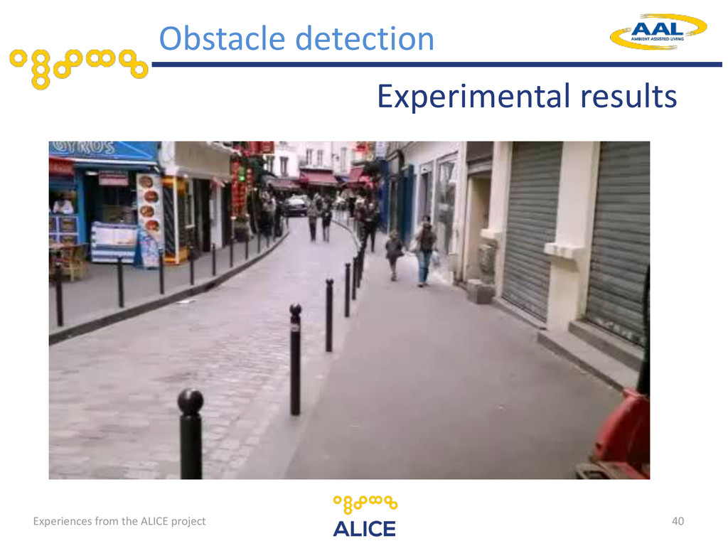40 Experimental results Obstacle detection Expe...