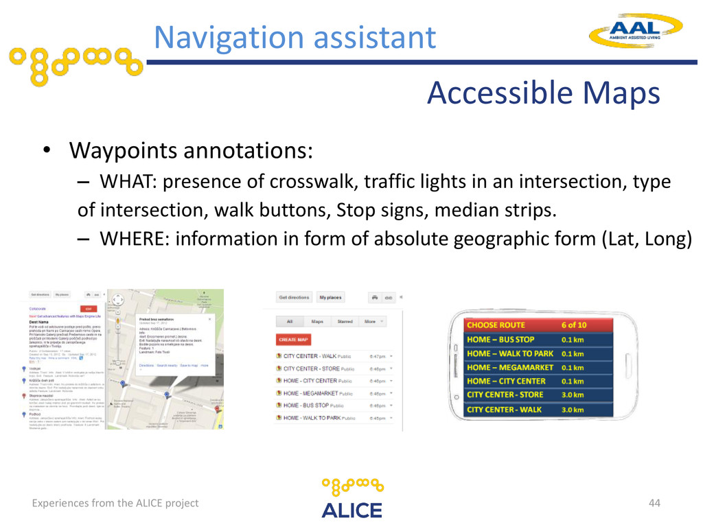 Accessible Maps • Waypoints annotations: – WHAT...